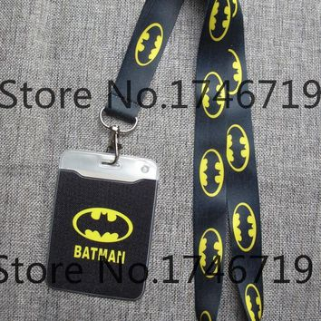 Batman Dark Knight gift Christmas Retail  1 pcs batman Named Card Holder Identity Badge with Lanyard  Neck Strap Card Bus ID Holders With Key Chain AT_71_6