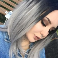 Grey Bob Synthetic Lace Front Wig