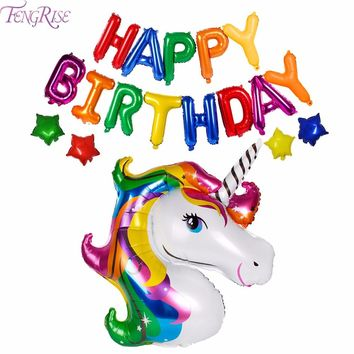 FENGRISE 18pcs Foil Balloons Birthday Party Decorations Kids Happy Birthday Letter Balloons Unicorn Party Favors Baby Shower
