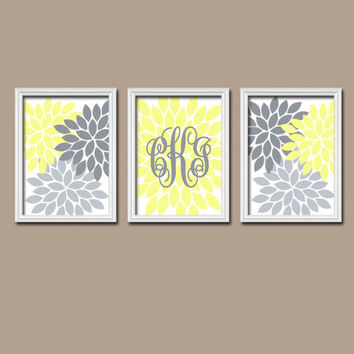 Yellow Gray Wall Art Girl Child Canvas Artwork Flower Monogram Letter Custom Cursive Initial Set of 3 Prints  Bedroom Crib Baby Three