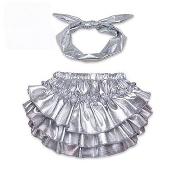 Newborn Baby Bloomers Gold Shorts + Headband 2pcs Set Ruffle Leather Silver PP Girl bloomer Pants Infant Toddler Diaper Cover