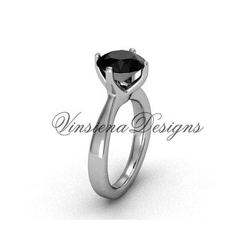 Platinum engagement ring, wedding ring, Black Diamond VD10020