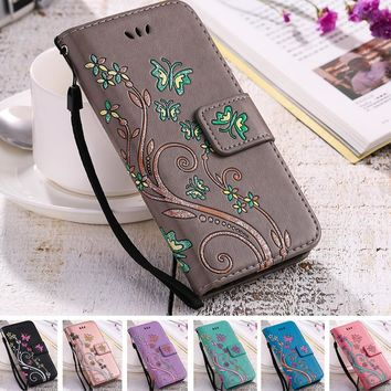 YiKELO Print Butterfly Fly Flower Leather Flip Book Wallet Cell Phone Case Soft Cover for Apple iphone 5 5s SE 6 6s 7 Plus 7plus