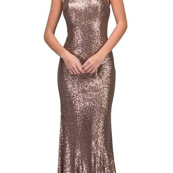 Mocha Beaded Neck Sequins Halter Evening Gown