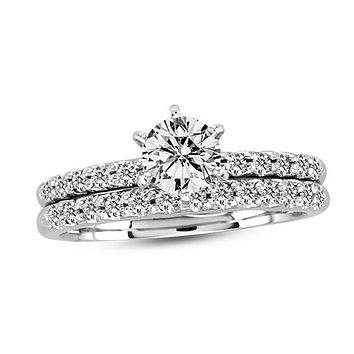 1 CT. T.W. Diamond Bridal Engagement Ring Set in 14K White Gold