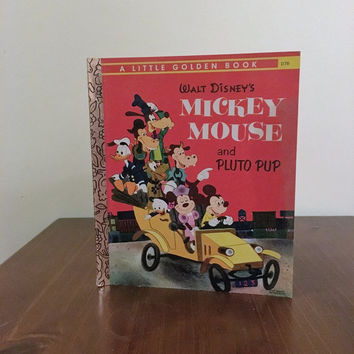 Vintage 1978 Walt Disney's Mickey Mouse and Pluto Pup - A Little Golden Book / Retro Children's Book