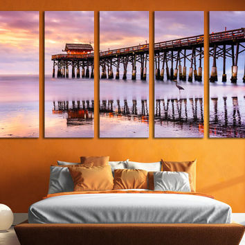 Miami Canvas Print Cocoa Beach Large Wall Art 5 Panel Wall Hanging Sky View Canvas Art Living Room & Home Decor / Interior Design Room Decor
