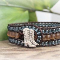 Western Beaded Leather Wrap Cuff, 3 Row, Denim Blue Brown Cowgirl Country Bracelet