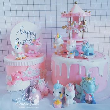 Pink Blue White Standing Sitting Lying Unicorn Collection Cake Decorations Birthday Party Decorations for Baking Cute Gifts