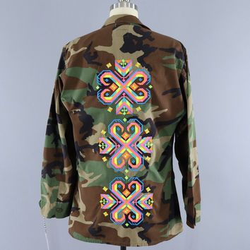 Vintage US Army Embroidered Camo Jacket / NEON Tribal Folk Floral