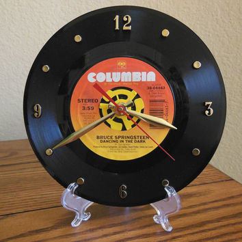 "BRUCE SPRINGSTEEN 45rpm Record Clock 7"" For Desk or Wall (Dancing In The Dark) - Stand Included"