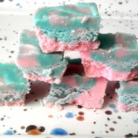 Cotton Candy Pink and Blue Swirled Fudge One Quarter Pound (1/4 lb) 4oz Smooth and Creamy Gourmet Fudge