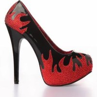 Bordello Teeze Platform Heel Shoes - Black / Flame - Punk.com