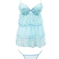 TIERED EMBROIDERED BABYDOLL & THONG SET