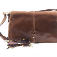 Structured Leather Satchel Bag  Bowler Bag Purse Medium Size Brown Tote with Crossbody Strap