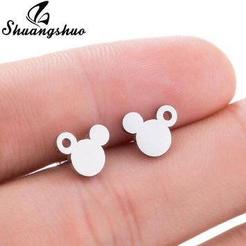 Shuangshuo New Fashion Cute Mickey Stainless Steel Earrings Black Children Kids Jewelry Cartoon Mouse Animal Stud Earrings Gifts
