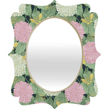 Belle13 Hydrangea And Butterflies Quatrefoil Mirror