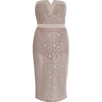 River Island Womens Light pink sheer lace bandeau dress