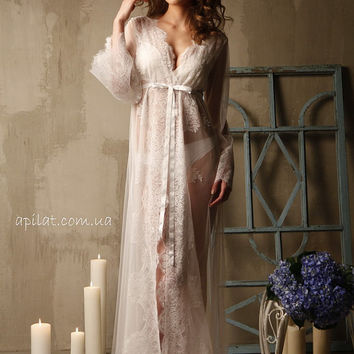 Lace-trimmed Tulle Bridal Robe F14(Lingerie, Nightdress), Ivory Wedding Tulle Bobe with Lace (Honeymoon Sleepwear,Wedding Trousseau)