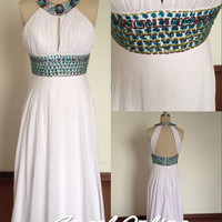 open back evening dress,beaded evening dresses,halter white chiffon party dresses,