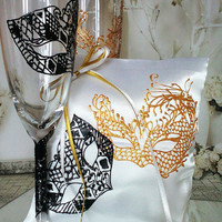 Hand painted Satin white ring bearer pillow Masquerade mask in black and gold personalized wedding favor