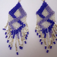 Beaded earrings, chandelier style, in diamond pattern of different shades of purple and white seed beads