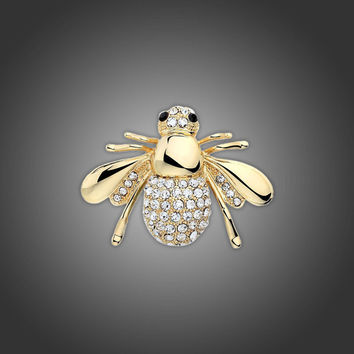 Fashion Jewelry Shiny  Crystal Animal Brooch Lovely Pretty Bee Brooches Pins Accessories 2 Colors