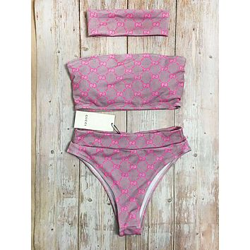 GUCCI Fashion New More Letter Off Shoulder Strapless Two Piece High Waist Bikini And Headband Suit Women Pink