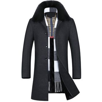 Long Thick Warm Wool Blend Coat Man Big Fur Collar