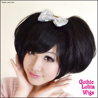Gothic Lolita Wigs®  Pixie™ Collection - Bun 1 (Black) -00075