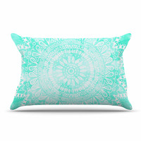 "Nika Martinez ""Boho Flower Mandala in Teal"" Aqua Green Pillow Case"