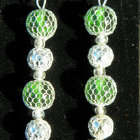 FREE Shipping in U.S.A - Lime Drops - Netted Green Silver Glass Beads - Elegant Jewelry Set - Evening Wear Jewelry - Matching Jewelry Set