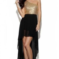 Sequin One Sleeve Top with Black Asymmetrical Skirt