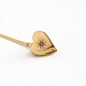 Vintage 12k Gold Filled Heart Diamond Locket Necklace - Mid Century 1940s WWII Era Sweetheart Love Star Incised Photographic Jewelry
