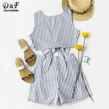 Dotfashion Striped Women Two Piece Set Bow Tie Open Back Knotted Crop Tank Top With Shorts Backless 2017 Sexy Women Outfit