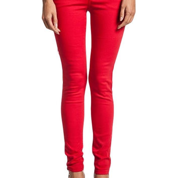 Basic 5-Pocket Mid-Rise Skinnies (Red)