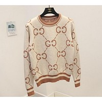 GUCCI Trending Women Casual GG Letter Print Long Sleeve Brief Paragraph Pullover Top Sweater Sweatshirt Apricot