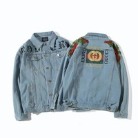 GUCCI Women Men Lover Denim Cardigan Jacket Coat