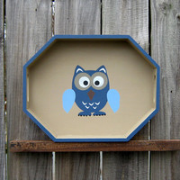 Owl Painted Wood Tray Octagonal Country Tan by SuzsCountryPrims