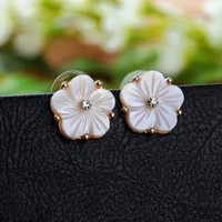 Seashell Flower Studs by forevervintage on Zibbet