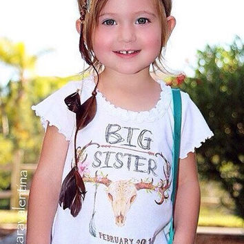 BIG SISTER Gypsy Style skull antlers feather toddler shirt pregnancy announcement / boho toddler tee / gypsy toddler