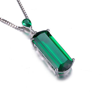 JewelryPalace Fancy Cut 4.4ct Created Green Emerald Solid 925 Sterling Silver Pendant For Women Gemstone Jewelry