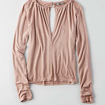Don't Ask Why Slit Neckline T-Shirt, Just Rosey