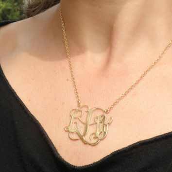 Wedding Monogram Necklace 1.25 Inch Personalized Design - 925 sterling silver 18k Gold Plated Free shipping