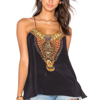 Camilla T Back Shoestring Strap Top in Black & Birds Eye View