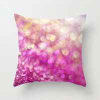 Hot Pink Bokeh Pillow Cover, pink white throw pillow, yellow gold abstract, glitz living room deocr, bedroom winter home decor