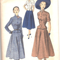 1940s Advance 5514 Sewing Pattern Two Piece Dress Suit Full Skirt Dart Fitted Peplum Jacket Blouse Notched Collar Hollywood Fashion Bust 34