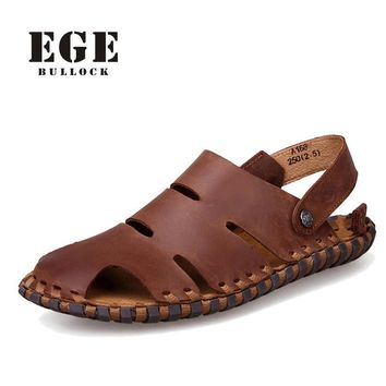 New Arrival Soft Leather Beach Sandals for Men,Handmade Genuine Leather Summer Shoes M