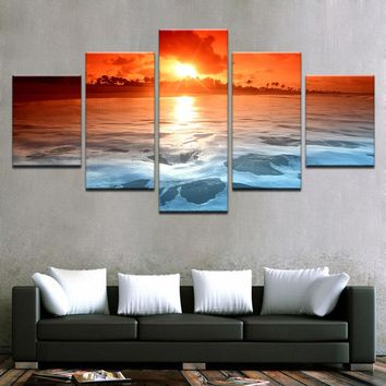 Sunset Ocean Beach Sea Waves Seascape Poster Wall Art Canvas Framed UNframed
