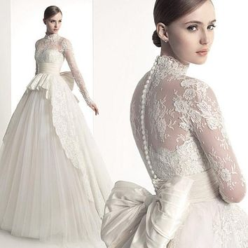 new winter 2016 white bud silk long sleeve wedding dress Small tail wedding white wedding gown